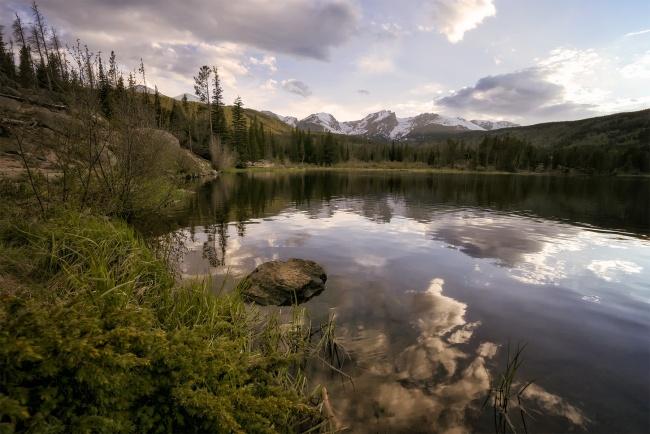 Rocky Mountain National Park, Estes Park, colorado, centennial state, rmnp, sunset, sprague lake, hike, reflection, snow capped mountains, snow, travel, visit, air,