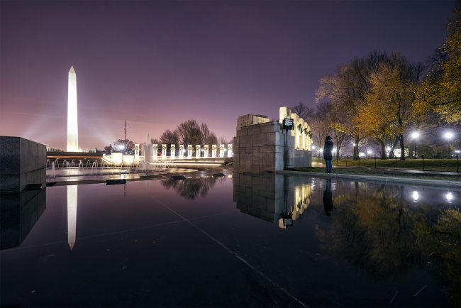 National WWII Memorial, Washington DC, sunrise, reflection, national mall, world war ii, washington monument, dawn, early morning, lights, nations capital