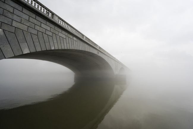fog, winter, rain, arlington memorial bridge, architecture, landscape, virginia, washington dc, memorials, monuments,