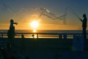 The Bubble Guy, pacific beach, pb, sunset, ocean, beach, water, sun, bubble, kids, children, california, san diego, socal, warm weather, boardwalk, evening,