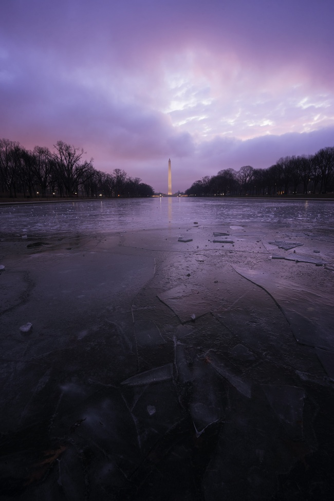 frozen, reflecting pool, ice, chunks, national mall, washington dc, travel, cold, winter, ice skating, walk, sunrise, washington monument, reflection, lincoln memorial