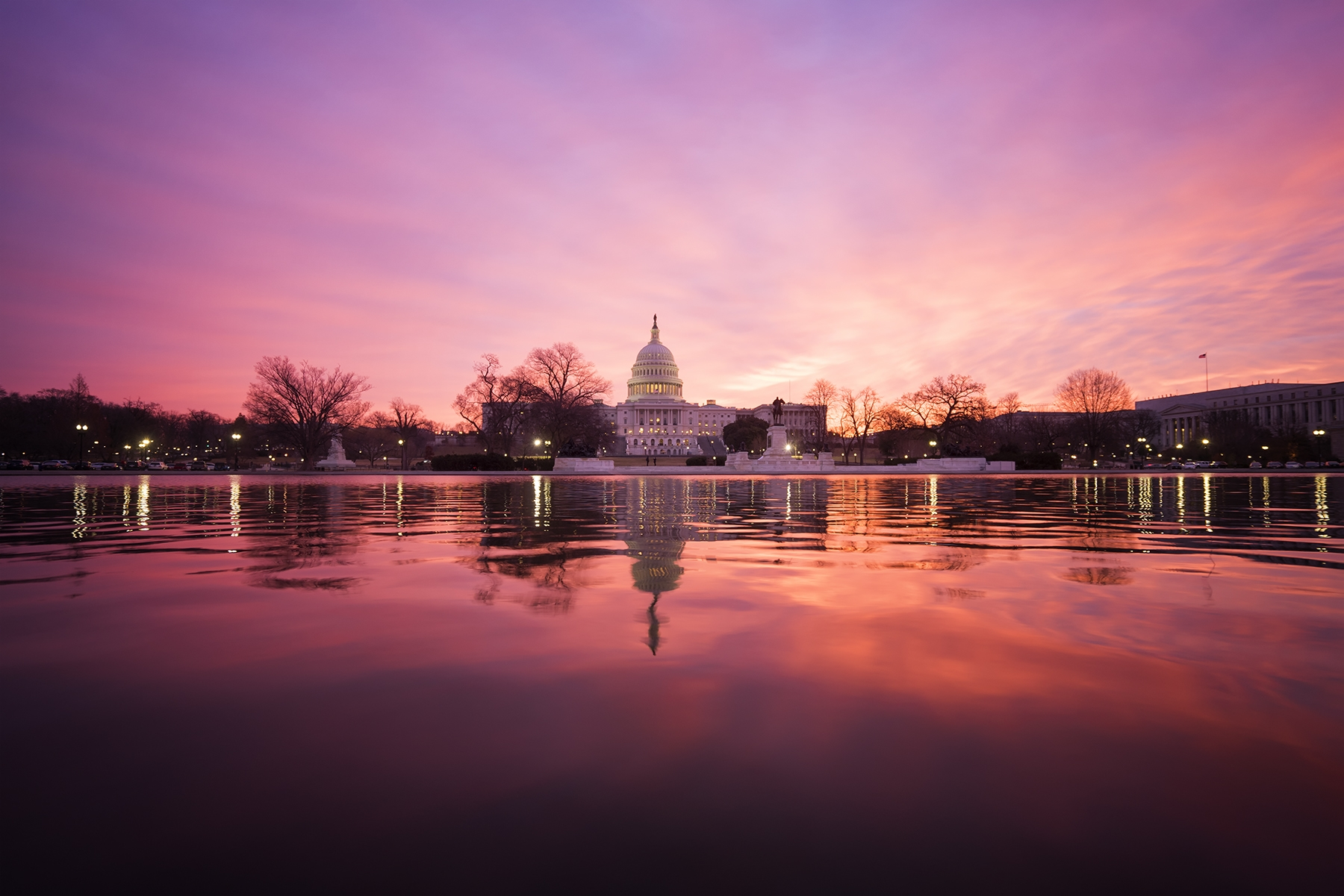 US Capitol Reflecting Pool, us capitol, reflecting pool, washington dc, capitol hill, capitol building, capital, sunrise, early morning, pink, architecture, water, weather, wind, dome