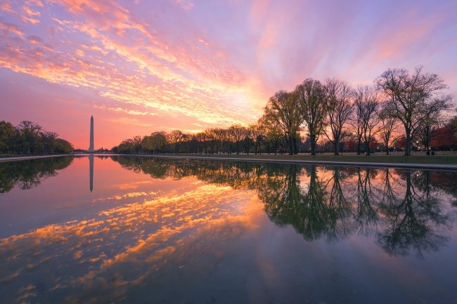 America's Best Sunrises and Sunsets, budgettravel, blog, sunrise, sunset, washington dc, washington monument, reflecting pool, clouds, reflection, national mall, east coast, feature, camera settings, travel