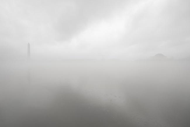 fog, tidal basin, winter, weather, washington dc, thomas jefferson, jefferson memorial, washington monument, fog, rain, grey, color, national mall, tidal basin, winter, contrast