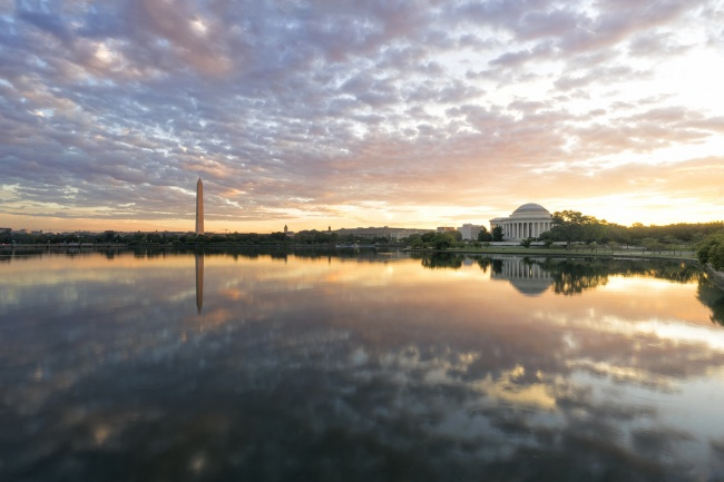 tidal basin, sunrise, washington dc, national mall, jefferson memorial, washington monument, reflection, water, east potomac park, pedestrian bridge, ohio drive, clouds, monuments, cherry blossom trees