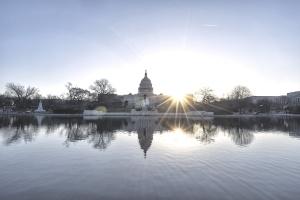 Double Sun Burst, washington dc, us capitol, capitol building, reflecting pool, dome, capitol hill, nation's capital, sunrise, sun, early morning, igdc, photowalk, meetup