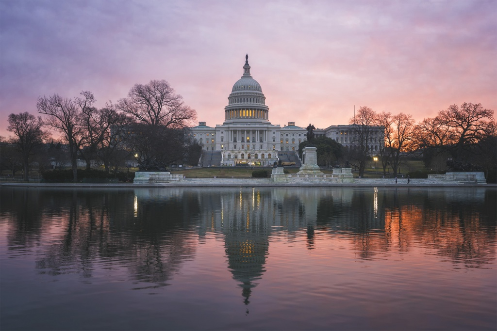 US Capitol, capitol building, reflecting pool, sunrise, early morning, pink, sky, washington dc, observing, watching, solo exhibition, one day