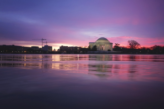 instagram, social media, break, sunrise, photography, photographer, learn, mindset, washington dc, national mall, us capitol, tidal basin, sunrise, pink, jefferson memorial,