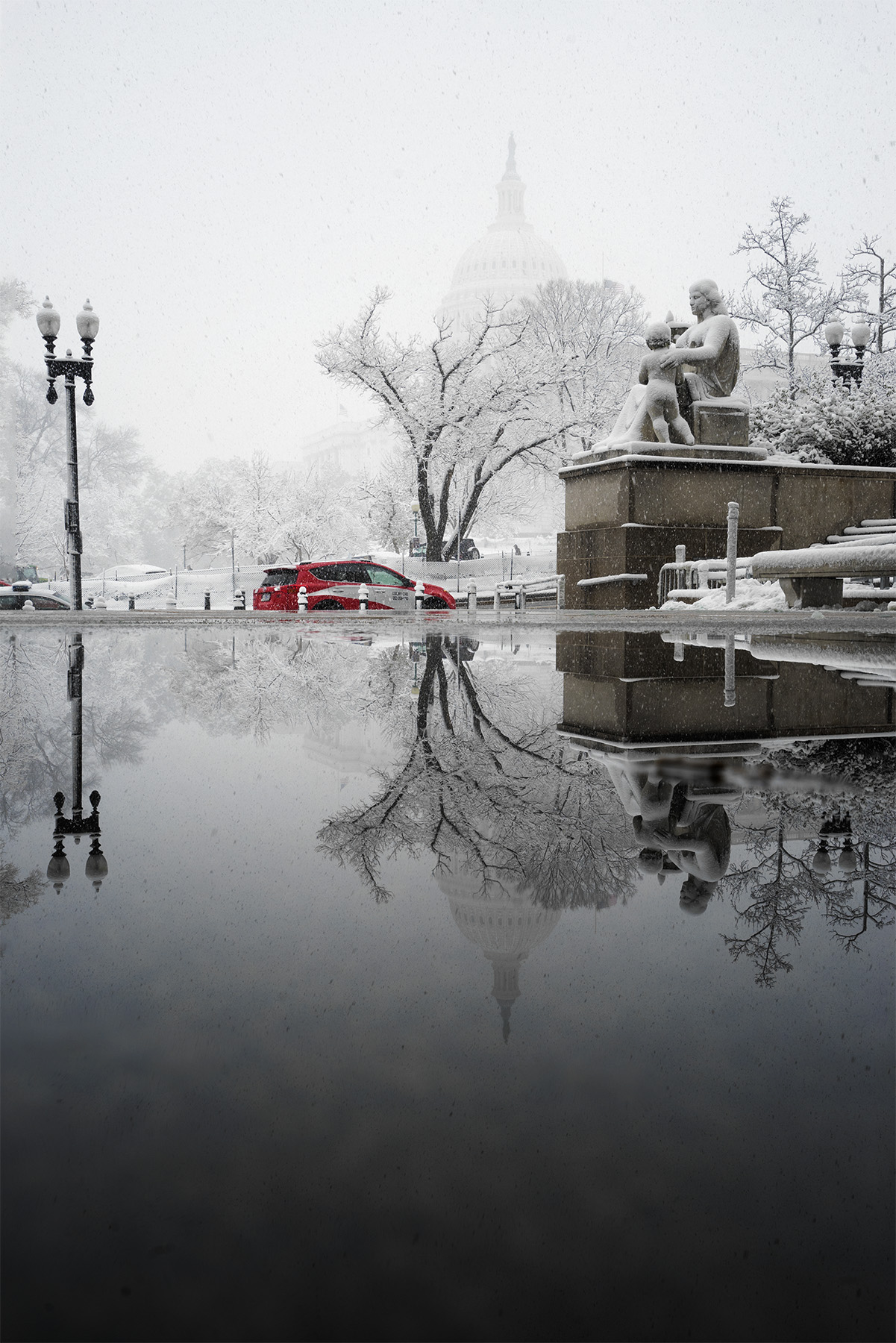 Snow Day, washington dc, us capitol, reflection, Rayburn House Office Building, House of representatives, government, spring, snow, white, trees, taxi, cab
