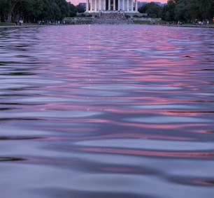 My First Photowalk, washington dc, focus on the story, photo festival, sunrise photowalk, lincoln memorial, reflecting pool, sunset, pink, purple, reflection, water, krispy kreme, national mall,