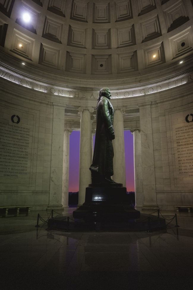sunset, jefferson memorial, interior, architecture, national mall, washington dc, west potomac park, tidal basin, crazy weather, glow, columns, pink, purple, statue,