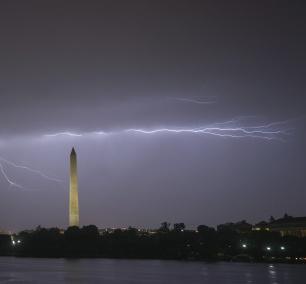 Lightning Strike, washington monument, tidal basin, jefferson memorial, weather, tornado, derecho, wind, rain, washington dc, national mall, evening,