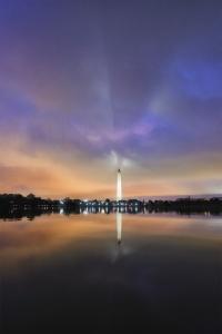 Monument Shadow, washington dc, tidal basin, reflection, moody, national mall, bats, washington monument, dc memorials, photowalk, evening, night, clouds,