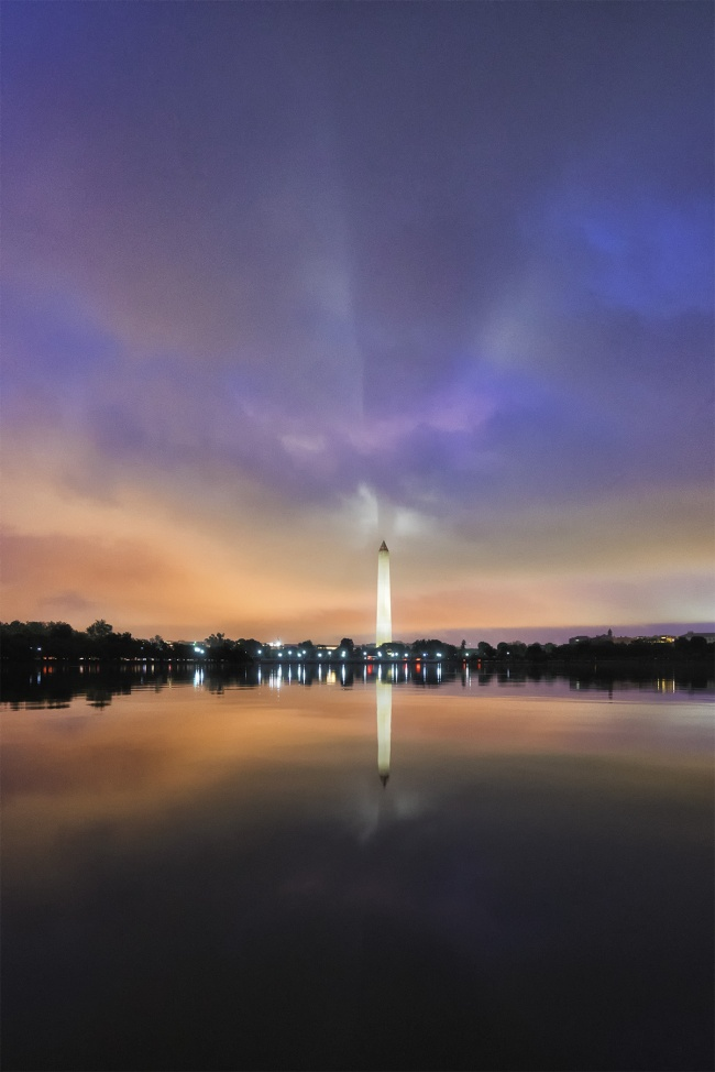Monument Shadow, washington dc, tidal basin, reflection, moody, national mall, bats, washington monument, dc memorials, photowalk, evening, night, clouds,