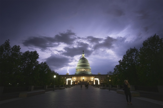 lightning, summer storm, us capitol, purple sky, rainstorm, weather, washington dc, capitol hill, clouds, moody, visit, travel, see dc