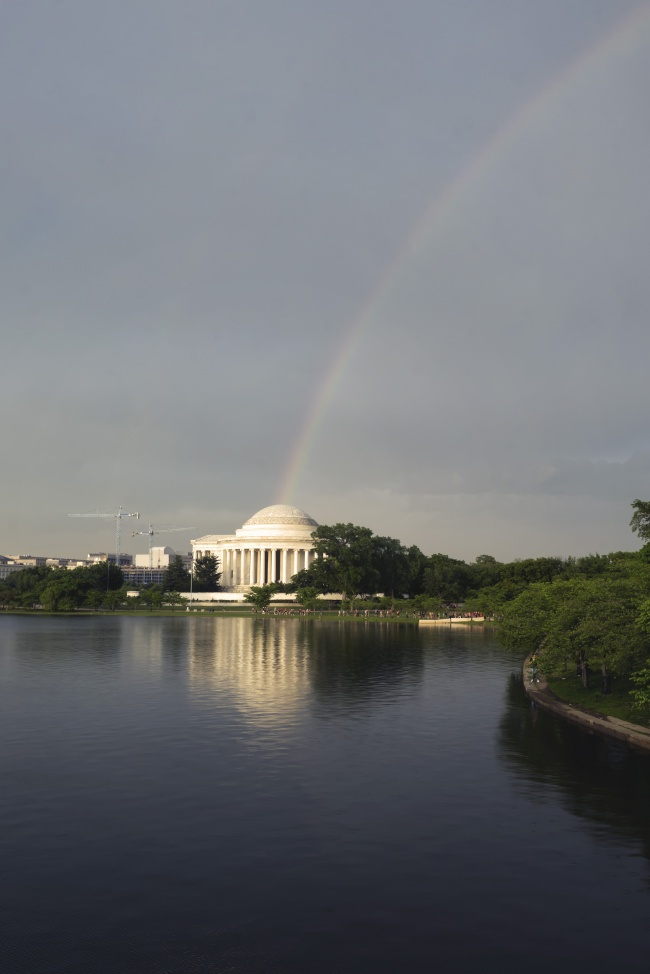 Rainbow Colors, rainbow, washington dc, national mall, jefferson memorial, tidal basin, west potomac, monuments, rainy day, to do, visit, travel,