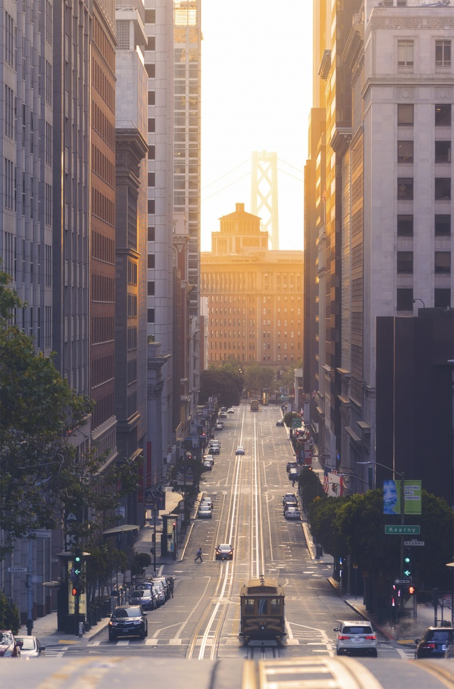 California St, San Francisco, california, instagram, ig, instagram spot, noma, cable car, sf, sunrise, early morning, sunday morning, city, norcal, northern california, golden gate bridge,