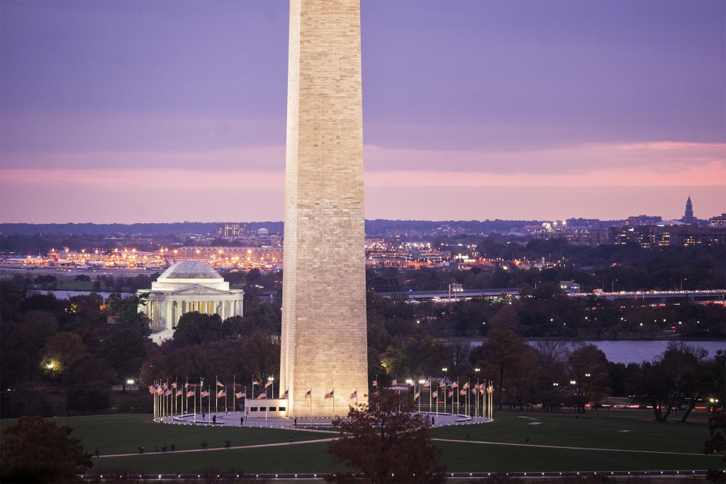 Washington Monument, jefferson memorial, national mall, washington dc, sunset, point of view, regan national airport, masonic temple, virginia, va, district of columbia, american flags, up high, from above