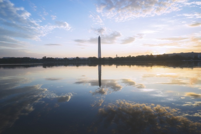 Washington DC, Tidal Basin, washington monument, sunrise, reflection, clouds, weather, sony a7ii, sony cameras, sony alpha, sony a7iii, borrowlenses, camera repair