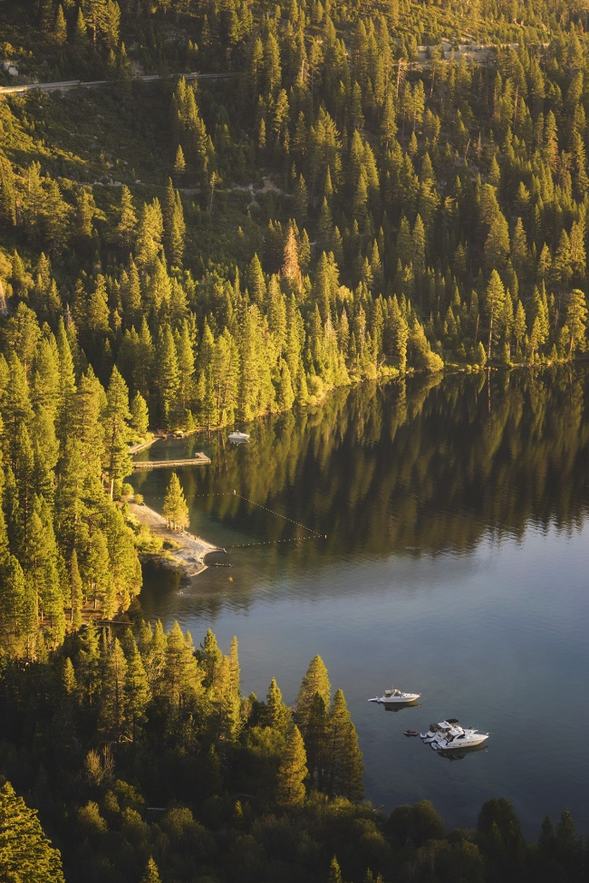 Emerald Bay, Lake tahoe, south tahoe, travel, visit, early morning, sunrise, pinterest, pine trees, sailboats, california, skiing, summer, weather, visit, lake