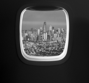 Newark Airport, flying, airplane, new york skyline, one trade center, one tower, new york, new jersey, black and white, jason m peterson, photography, window seat, from the window, skyline, travel