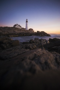 Portland Head Light, Portland, Maine, sunrise, travel, autumn, visit, Casco Bay, lighthouse, early morning, rocks, Cape Elizabeth, gulf of maine