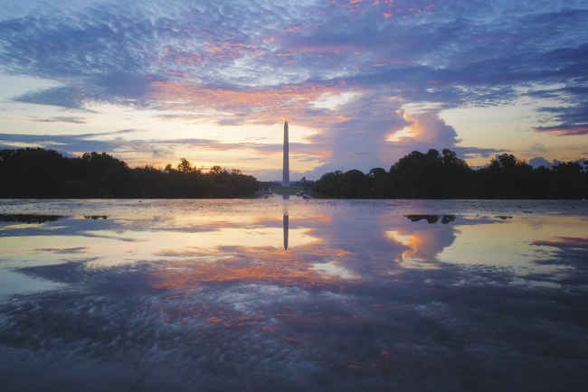 Washington Monument, Sunrise, dc, washington dc, national mall, puddle, reflection, lincoln memorial, early morning, trees, photographers, photo, snap dc, photography tips