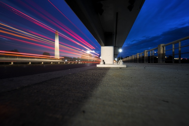 Washington Monument, Tidal Basin, early morning, long exposure, national mall, kutz bridge, car trails, sony, yin yang, potomac river, washington dc,