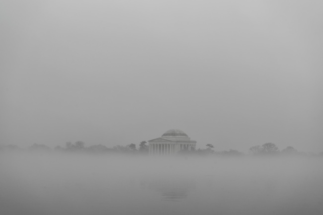 Thomas Jefferson Memorial, Washington dc, Fog, grey, sunrise, photo, silhouette, reflection, tidal basin, west potomac park, national mall,