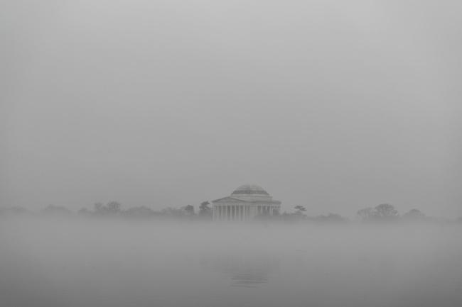 Thomas Jefferson Memorial, Washington dc, Fog, grey, sunrise, photo, silhouette, reflection, tidal basin, west potomac park, national mall,