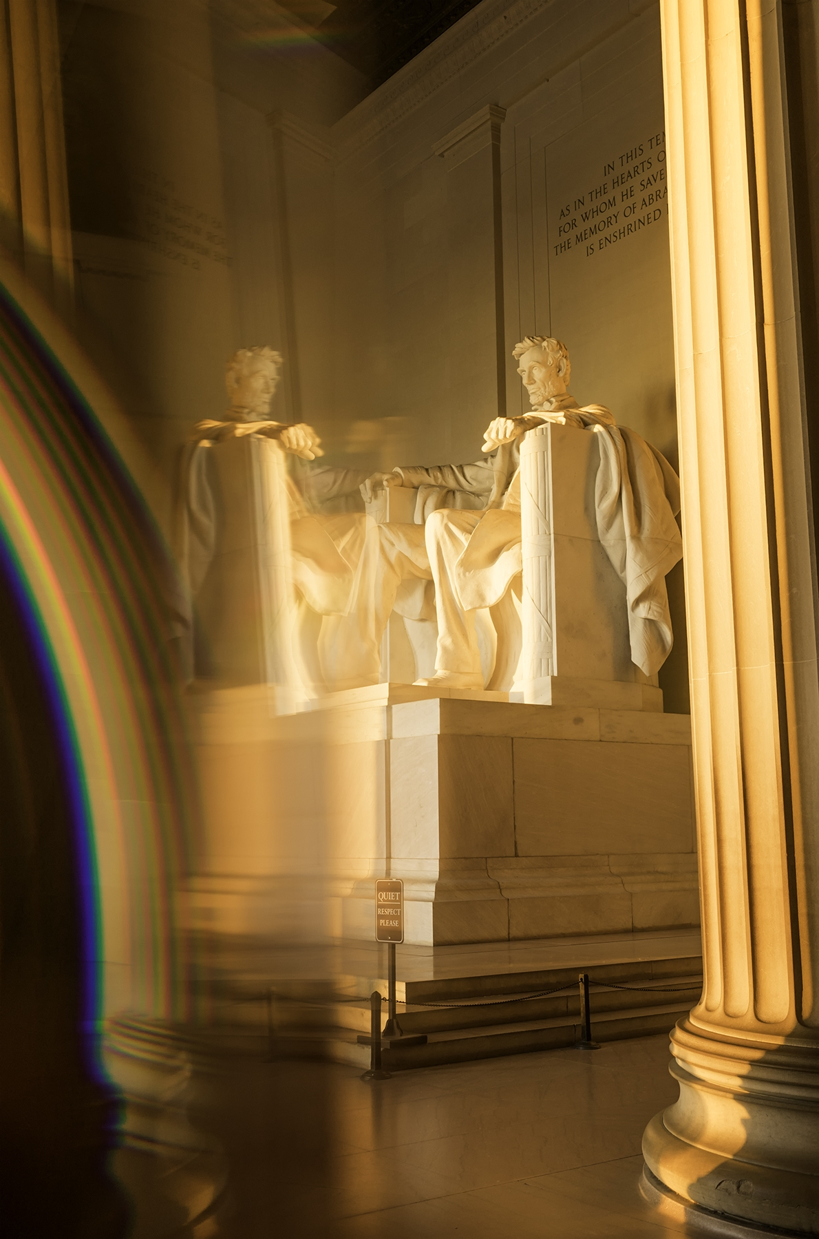 Lincoln Memorial, washington dc, national mall, early morning, sunrise, orange glow, memorial, prism, reflection, photo props,