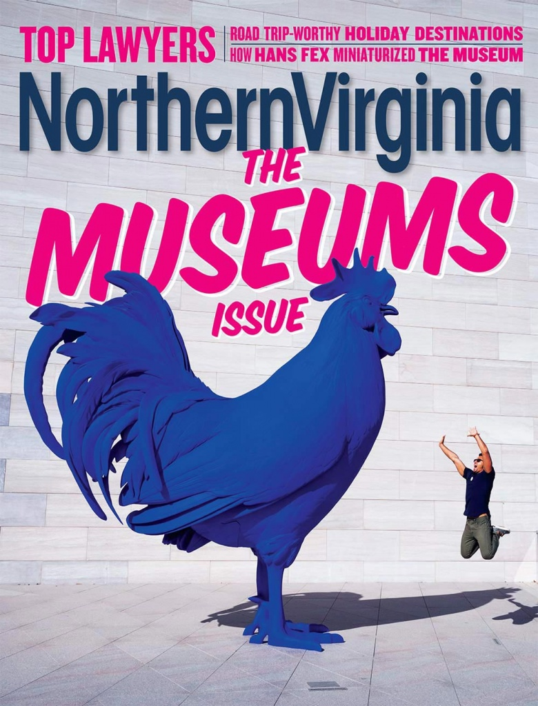 Northern Virginia Magazine December 2019, museum guide, washington dc, national gallery of art, nga, Katharina Frithsch's Hahn/Cock, blue rooster, rooftop, museums,