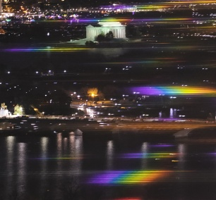 Reflections from the Kennedy Center, view of dc, observation deck, ceb tower, potomac river, jefferson memorial, arlington, rosslyn, virginia, va, jefferson memorial, night time, reflections, rainbow lights,