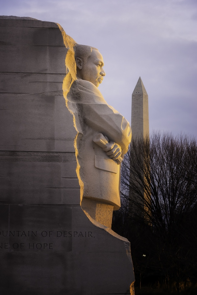 Washington DC, Martin Luther King Jr Memorial, tidal basin, early morning glow, travel, west potomac park, washington monument, sun, national mall,