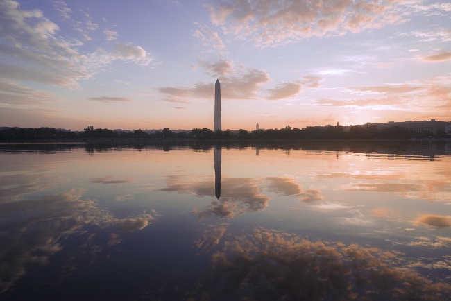 Tidal Basin Reflections, washington dc, washington monument, sunrise, early morning colors, clouds, flooding, west potomac park, potomac river, cherry blossom festival