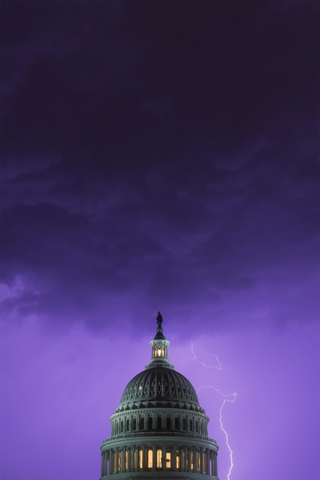 Lightning Strike at the US Capitol, united states capitol, capitol dome, summer storm, lightning, clouds, capitol hill, architecture, rain storm, washington dc, capitol building