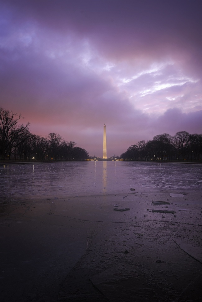 Frozen Reflecting Pool DC, washington dc, national mall, washington monument, reflecting pool, cold, frozen, ice, winter, travel, sunrise,