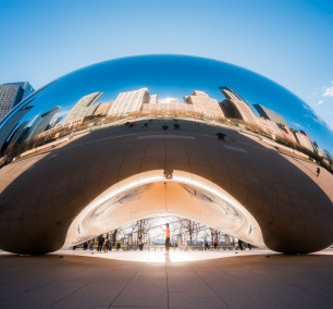 cloud gate, the bean, chicago, illinois, sunrise, photographer, glow, the loop, millennium park, park, michigan avenue,