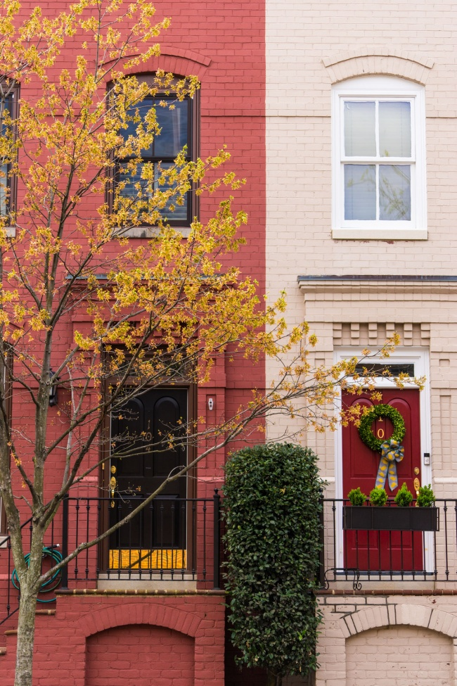 alexandria, virginia, va, queen st, house portrait, townhouse, row houses, easter, spring, yellow, brick, visit, va,