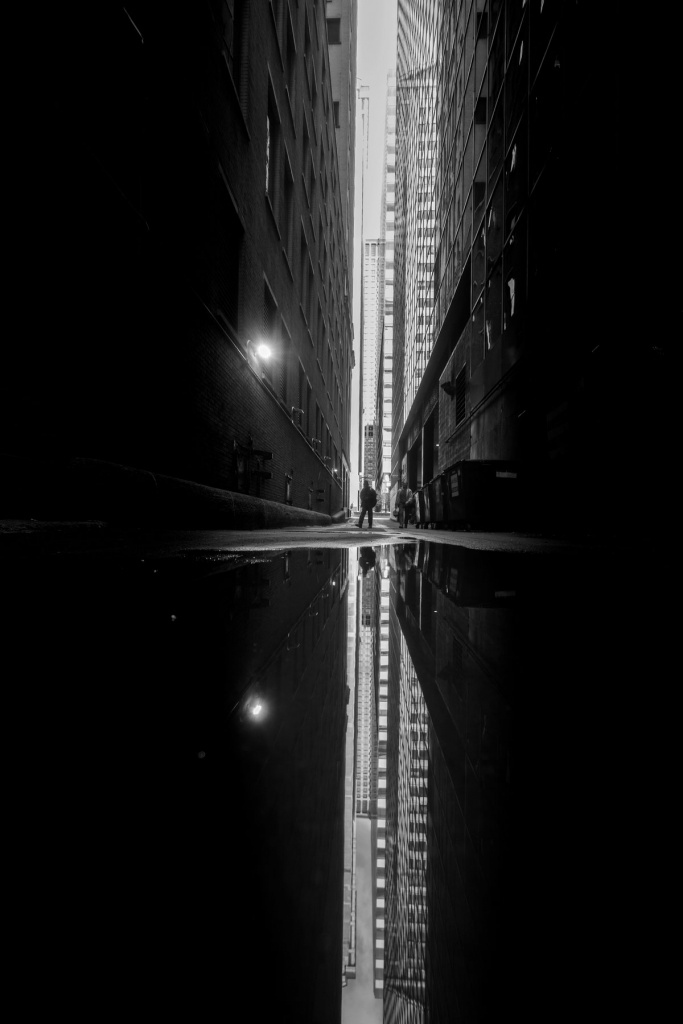 chicago, loop, photo, photography, reflection, downtown, buildings, skyscrapers, black and white