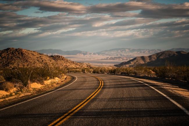 joshua tree, national park, desert, road, driving, visiting, sunrise, early morning, southwest, open road, california, sw, shadows