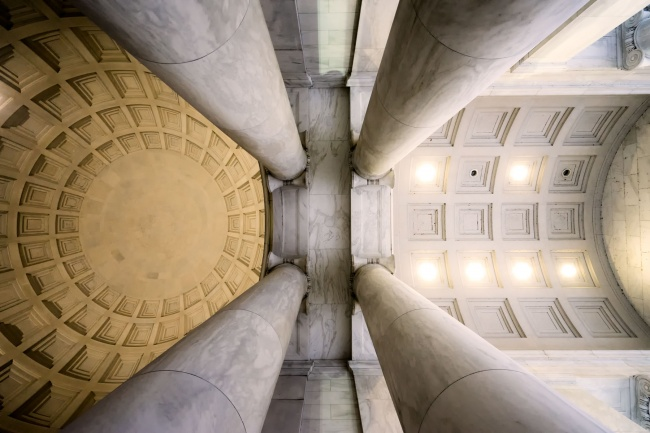 jefferson memorial, washington dc, national mall, architecture, portico, looking up, wide angle, architecture, tidal basin