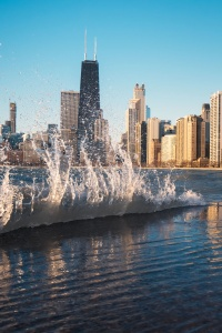 chicago, north avenue beach, waves, water, skyline, best places to view chicago skyline, lake michigan, lakeside, beach, city views