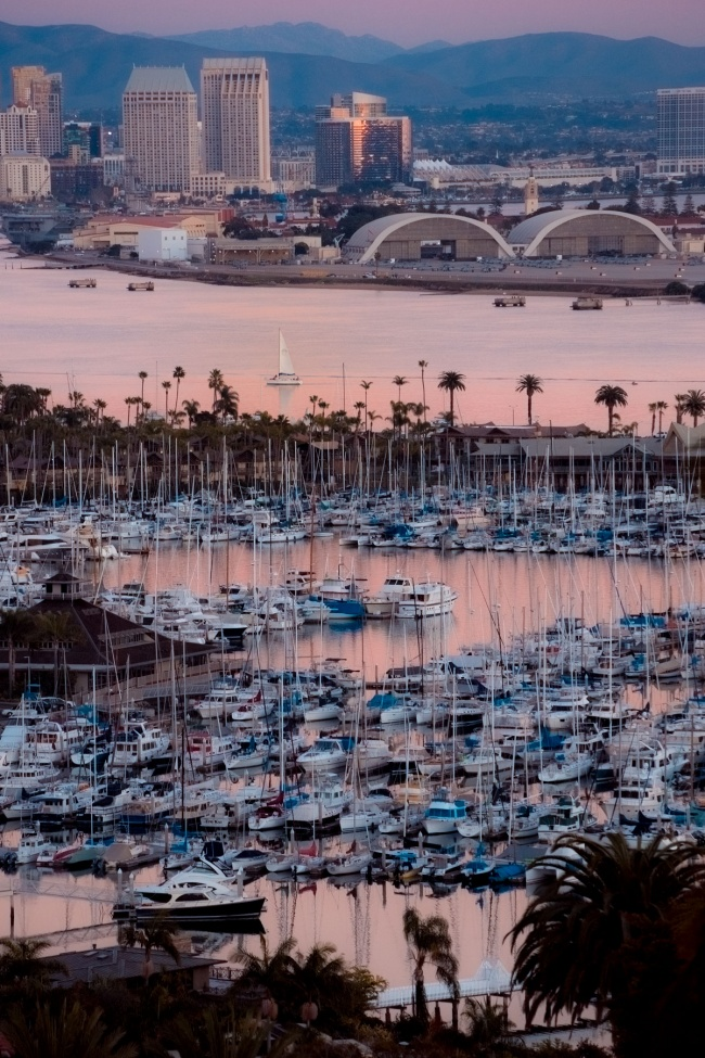 san diego, sunset, point loma, marina, sailboats, skyline, southern california, socal, palm trees, frankies foto,