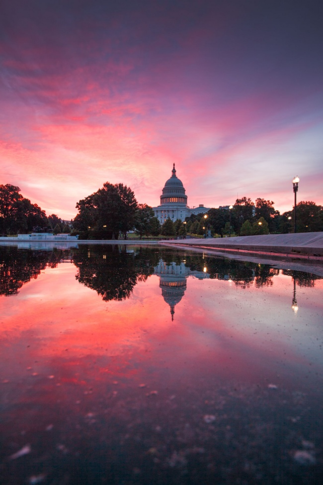 washington dc, us capitol, capitol building, reflecting pool, sunrise, reflection, capitol hill, west end,