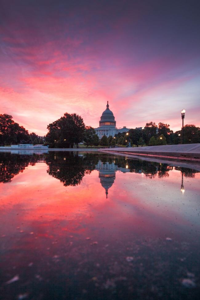 washington dc, us capitol, capitol building, reflecting pool, sunrise, reflection, capitol hill, west end,