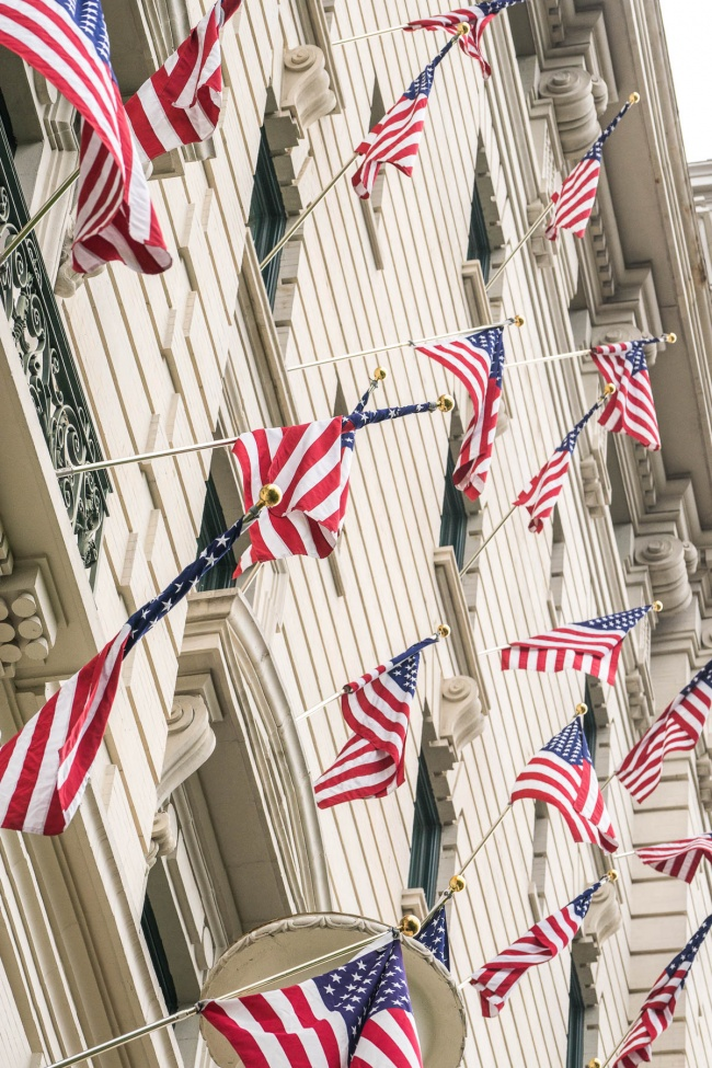 american flags, july 4th, independence day, america, usa, looking up, washington dc, willard intercontinental, hotel, holiday, pennsylvania ave