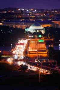thomas jefferson memorial, washington dc, altaire apartments, rosslyn, virginia, va, rooftop, tidal basin, national mall, light trails, car trails, sunset, compression