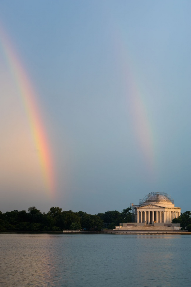 washington dc, double rainbows, storms, thunder, lightning, washington dc, national mall, tidal basin, jefferson memorial, storm,
