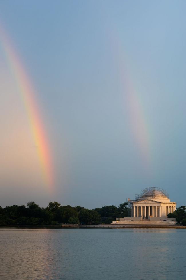 washington dc, double rainbows, storms, thunder, lightning, washington dc, national mall, tidal basin, jefferson memorial, storm,